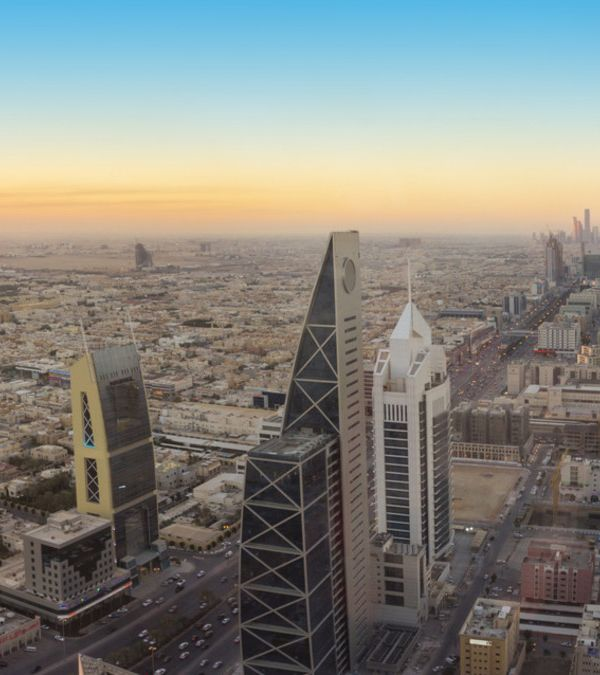 Panoramic view of Riyadh city at Before sunset